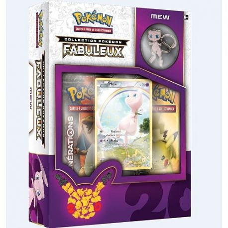 Coffret Mew Pokémon 20 ans - Collection Pokémon Fabuleux 2 boosters + 1 carte full art holo Mew et 1 badge MEW