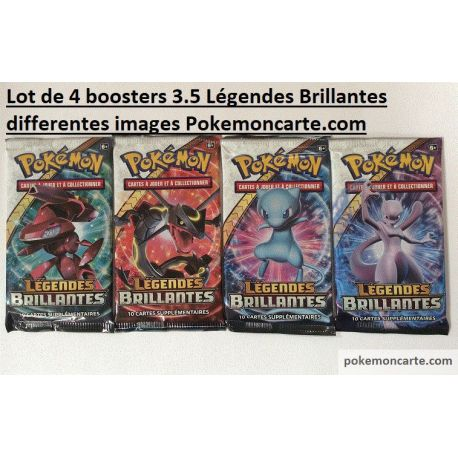 4 Boosters Pokémon 3.5 Légendes Brillantes Illustrations Differentes